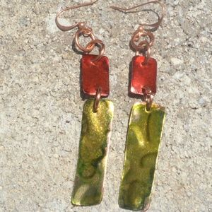 Green Red Pure Copper Dangle Earrings Festive Boho